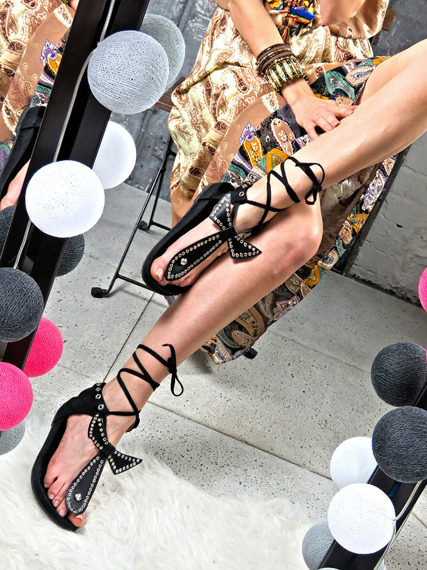 Faux Black suede Studded Gladiator Sandals