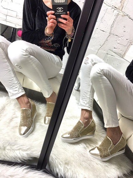 Gold Sneakers Wedge Slip On