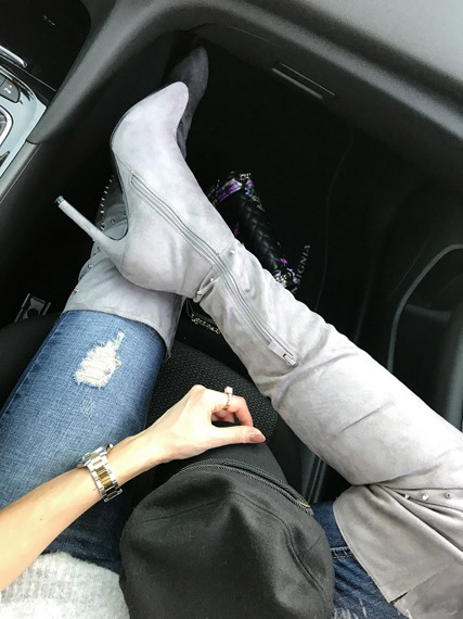 Grey stiletto thigh high boots Margo