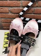 Pink Ribbon & Bow Detail Flat Pumps